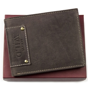 a59afd5f48c97 Brązowy portfel skórzany nubuk ALWAYS WILD N7 MHU NIT B