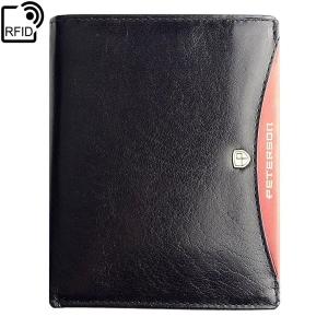 a8b6a6cd80b2f Czarny męski portfel skórzany Peterson 301.01 RFID 2-1-1