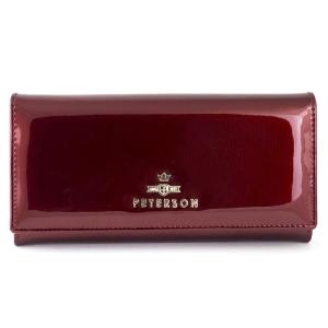 b6e1a07437939 Czerwony lakierowany damski portfel skórzany Peterson BC 467 A R