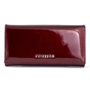 960821e0ccc60 Czerwony lakierowany damski portfel skórzany Peterson BC 411 R