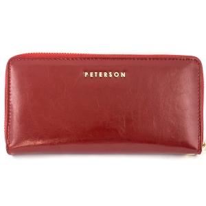 acdc0f4c9a4d3 Czerwony damski portfel skórzany Peterson PL 780 R