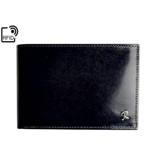 93039ae5d2b08 Czarny portfel męski skórzany Rovicky N992-RVT BLACK