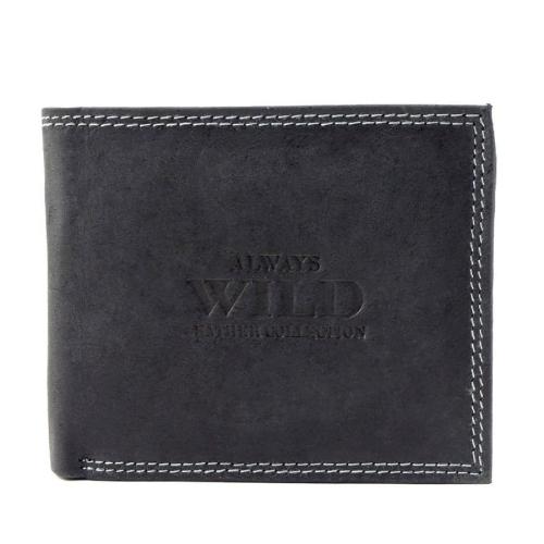 b119d00bd745f Czarny męski portfel skórzany Always Wild N251-HM BLACK