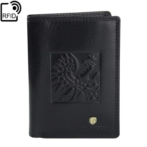 2c1e593f412fe Czarny męski patriotyczny portfel skórzany PETERSON 342.02-RFID-2-1 ...