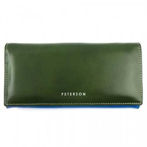 19e7b3f000c9f Zielono-niebieski damski portfel skórzany Peterson PL 435 Z | Sklep ...