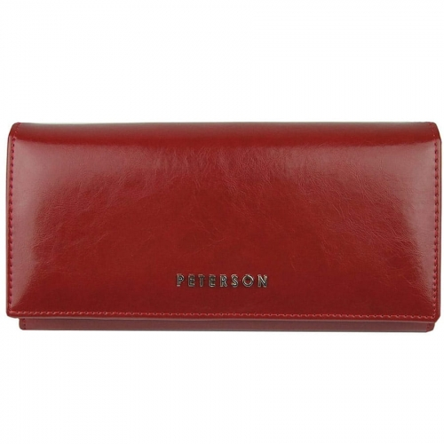 297f81ede7f77 Czerwony portfel damski skórzany Peterson PL 807