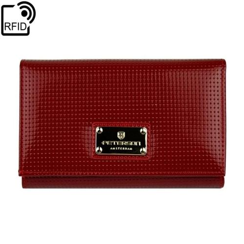 a7fc5f3274c36 Damski czerwony portfel skórzany Peterson PD 466 RFID