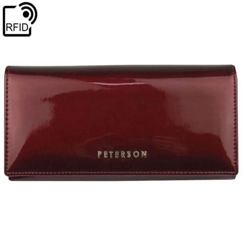 e1915bea4f0a7 Czerwony damski portfel skórzany Peterson BC 467 RFID