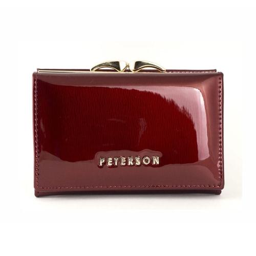 7d702d30ef609 Mały czerwony damski portfel skórzany Peterson BC 412 R
