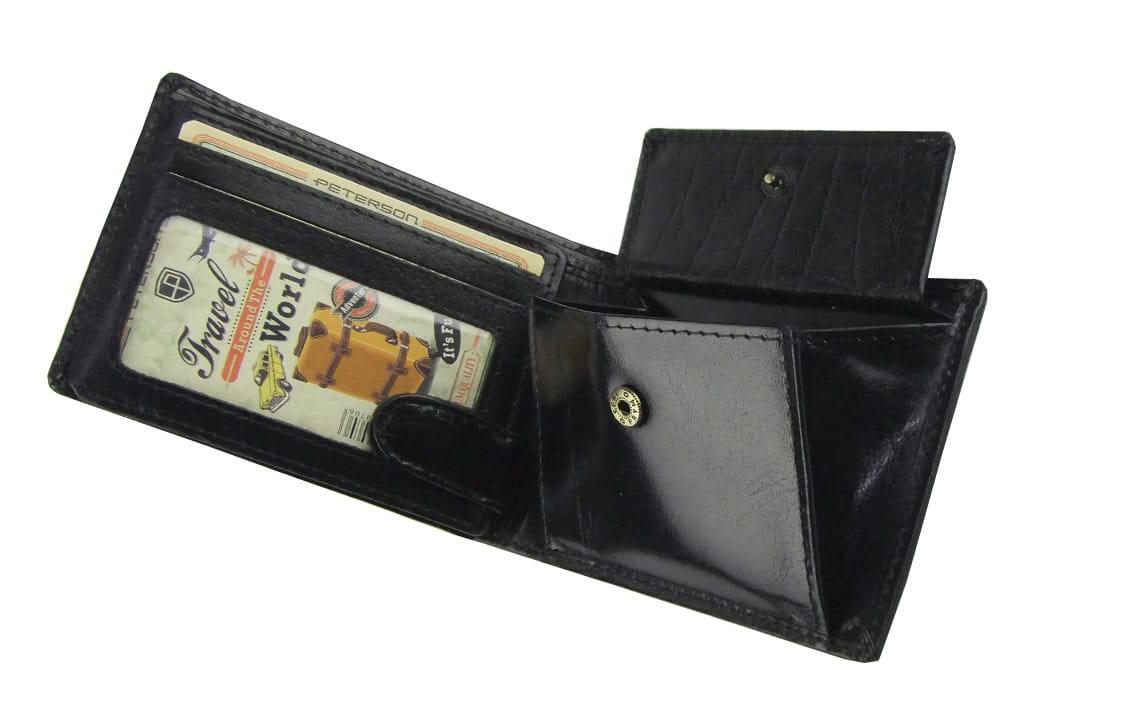 8e02fd944c96a Czarny mały męski portfel skórzany Peterson 367-RFID-2-1-1