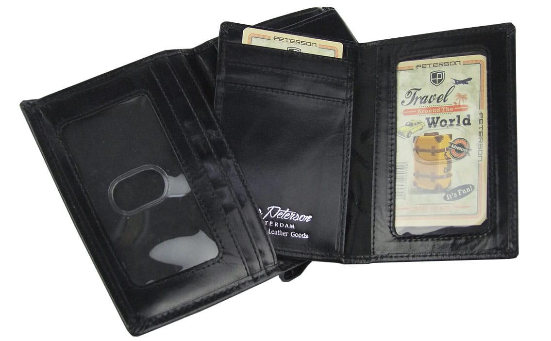 bb633f2542bc0 Duży czarny męski portfel skórzany Peterson 307-RFID-2-1-1
