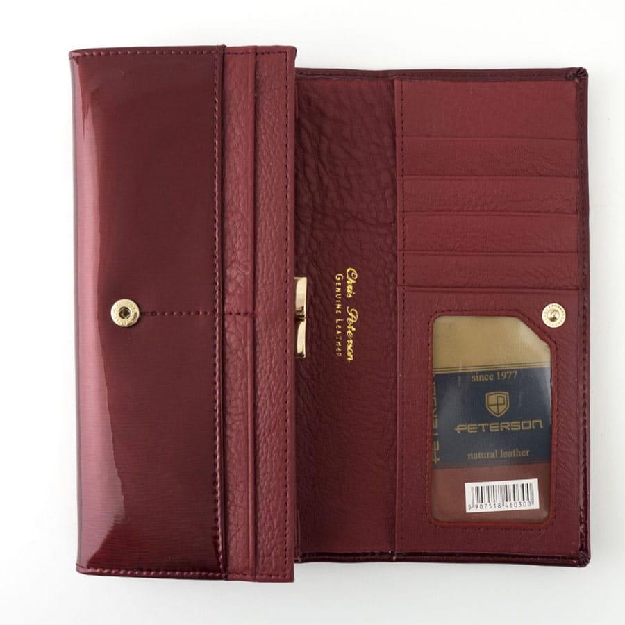 225fd3c760bdf Czerwony lakierowany damski portfel skórzany Peterson BC 467 A R ...