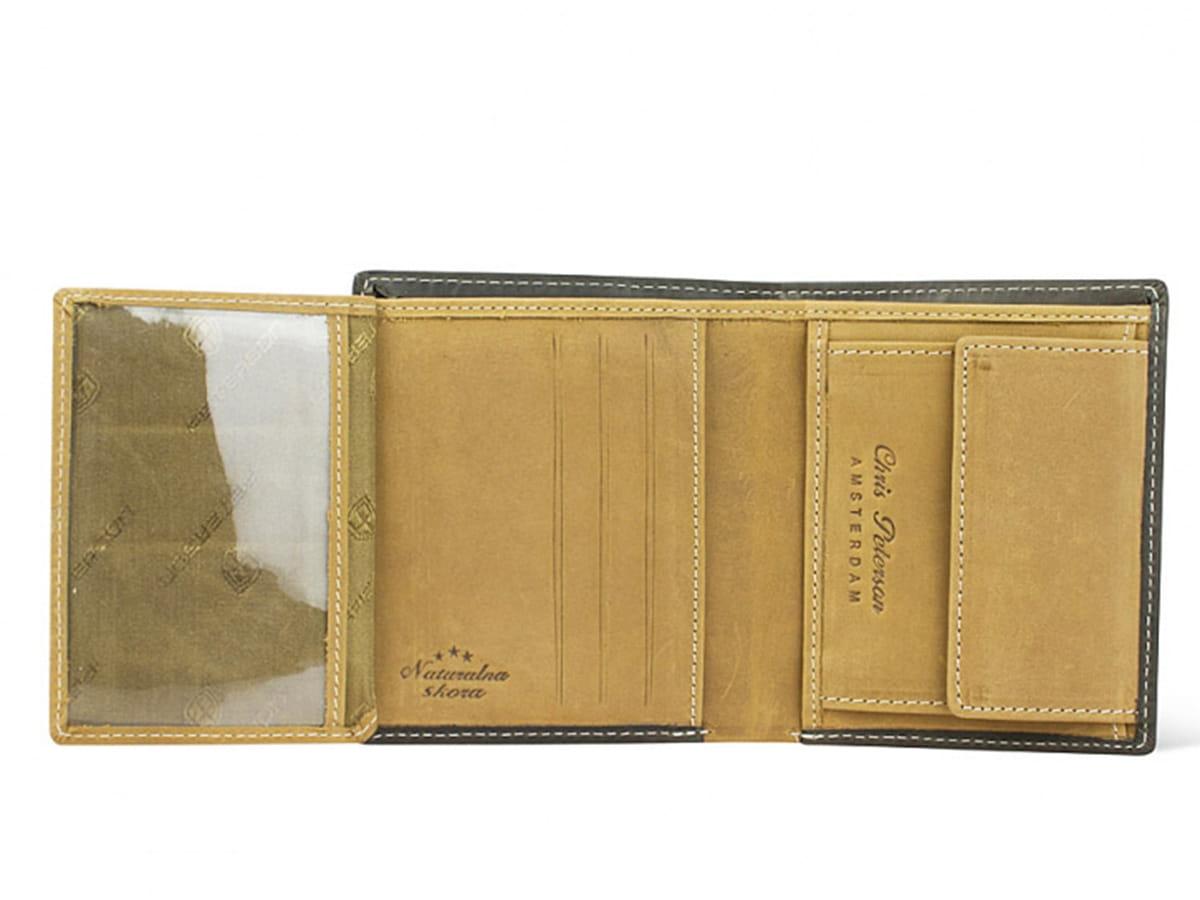 d714651884777 ... Brązowy męski skórzany portfel ze skóry naturalnej Peterson wewnątrz ...