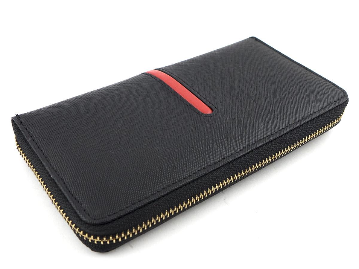9c9ecccf88b46 ... Czarny elegancki duży portfel skórzany Peterson tył ...