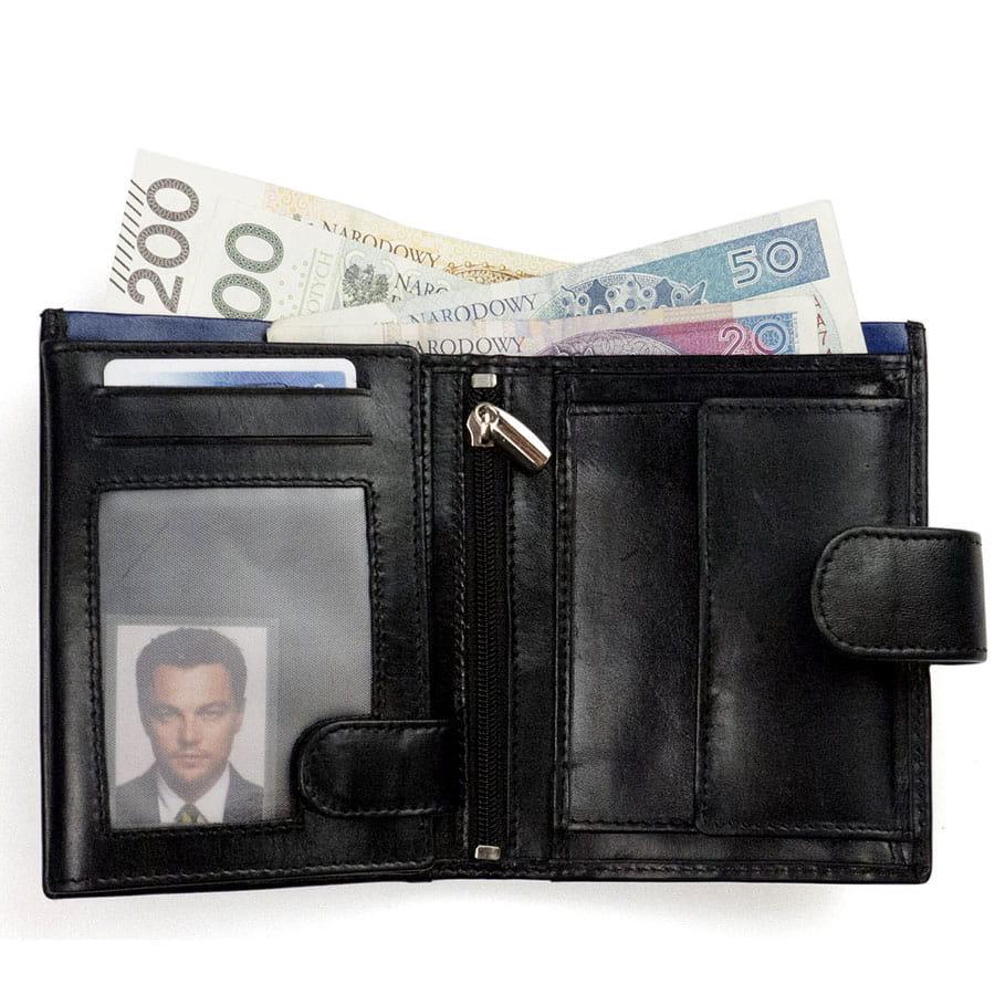 2d3e6cbbb5958 Duży męski portfel skórzany Ronaldo N4L VT niebieski · Pionowy zapinany  portfel ze skóry naturalnej ...